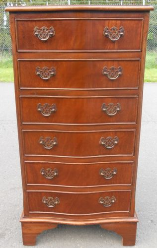 Tall Narrow Serpentine Mahogany Chest of Drawers